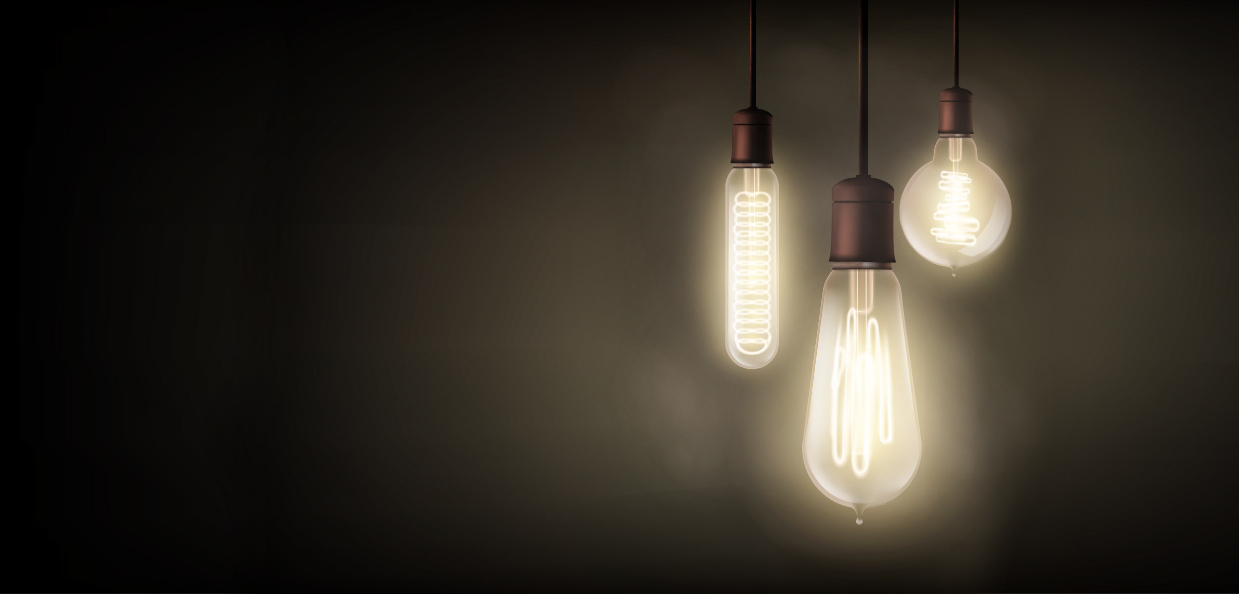 lightbulbs on a dark background